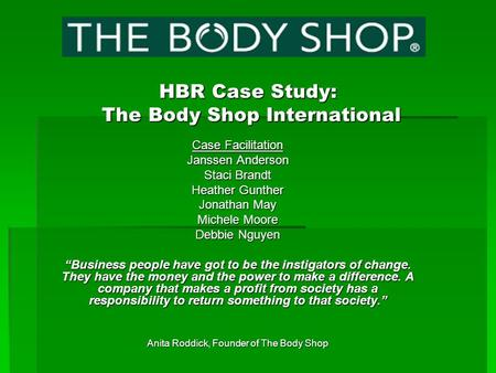 HBR Case Study: The Body Shop International