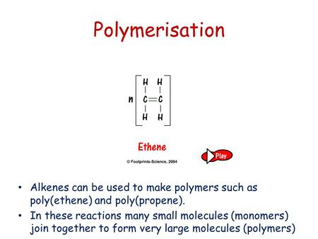 Polymerisation Alkenes can be used to make polymers such as poly(ethene) and poly(propene). In these reactions many small molecules (monomers) join together.