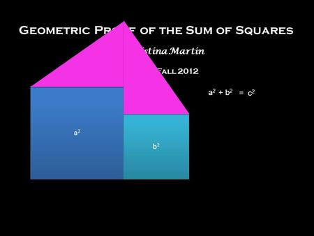 Geometric Proof of the Sum of Squares by Christina Martin Math 310, Fall 2012 a2a2 + b 2 = c 2 a2a2 a2a2 b2b2 b2b2.
