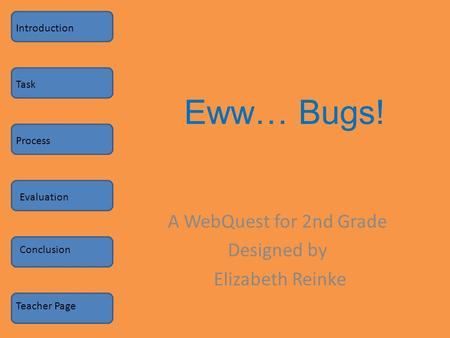 Eww… Bugs! A WebQuest for 2nd Grade Designed by Elizabeth Reinke Introduction Task Process Evaluation Conclusion Teacher Page.