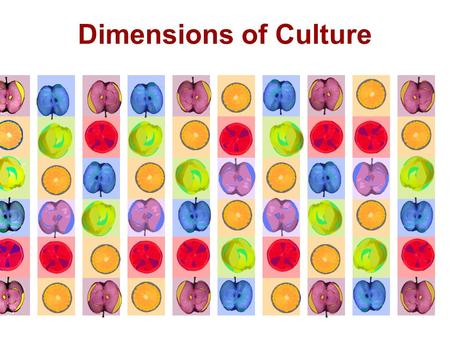 Dimensions of Culture. Classifying Cultures Cultural differences can be studied, described, classified, and compared in a variety of ways. One is to look.