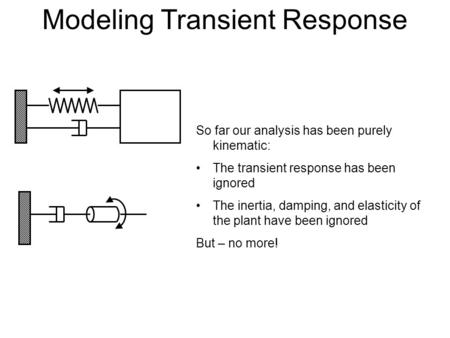 Modeling Transient Response So far our analysis has been purely kinematic: The transient response has been ignored The inertia, damping, and elasticity.