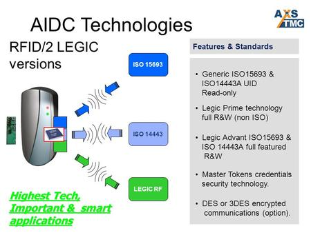 AIDC Technologies Features & Standards ISO 14443 ISO 15693 LEGIC RF Generic ISO15693 & ISO14443A UID Read-only Legic Prime technology full R&W (non ISO)