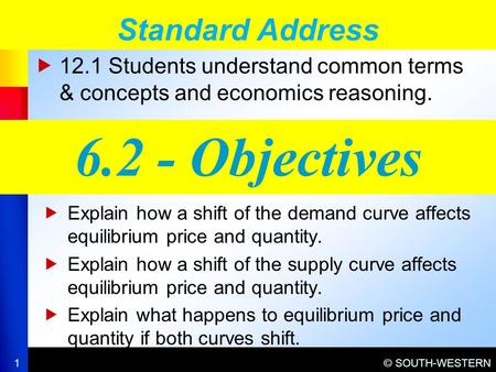 © SOUTH-WESTERN  12.1 Students understand common terms & concepts and economics reasoning. Standard Address 1 6.2 - Objectives  Explain how a shift of.