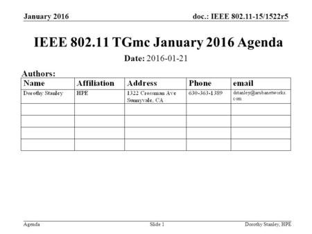 Doc.: IEEE 802.11-15/1522r5 Agenda January 2016 Dorothy Stanley, HPESlide 1 IEEE 802.11 TGmc January 2016 Agenda Date: 2016-01-21 Authors: