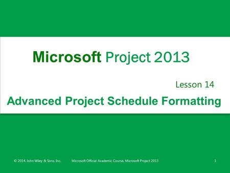 Advanced Project Schedule Formatting Lesson 14 © 2014, John Wiley & Sons, Inc.Microsoft Official Academic Course, Microsoft Project 20131 Microsoft Project.