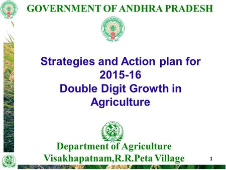 GOVERNMENT OF ANDHRA PRADESH 1 Department of Agriculture Visakhapatnam,R.R.Peta Village Strategies and Action plan for 2015-16 Double Digit Growth in Agriculture.