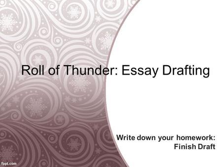 Roll of thunder essay