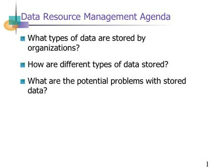 Data Resource Management Agenda What types of data are stored by organizations? How are different types of data stored? What are the potential problems.