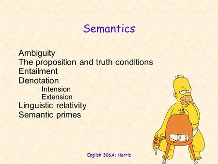 Semantics Ambiguity The proposition and truth conditions Entailment