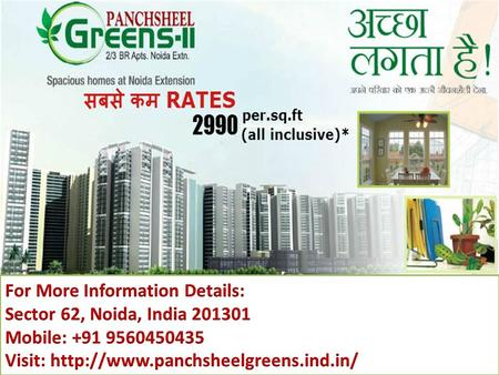  Panchsheel Green is one of the most prestigious real estate group that provide quality construction, safety of investment and commitment.  The Project.