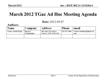 Doc.: IEEE 802.11-12/0236r4 Submission March 2012 Osama Aboul-Magd (HuaweiTechnologies)Slide 1 March 2012 TGac Ad Hoc Meeting Agenda Date: 2012-03-07 Authors: