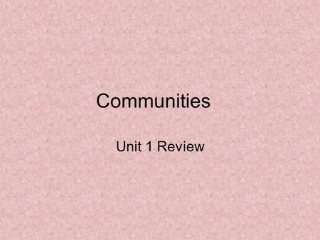 Communities Unit 1 Review Which is where an important event happened? 1.Government 2.Landform 3.Library 4.Historic site 10 123456789 11121314151617181920.