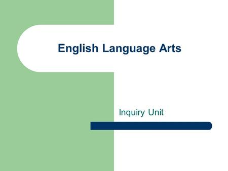 Inquiry Unit English Language Arts. The Outcomes GCO GCO 9: Students will be expected to create texts collaboratively and independently, using a variety.