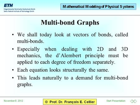 Multi-bond Graphs We shall today look at vectors of bonds, called multi-bonds. Especially when dealing with 2D and 3D mechanics, the d'Alembert principle.