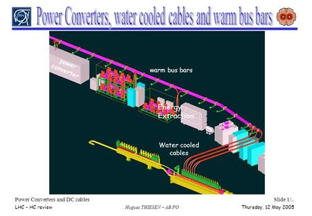 Power Converters and DC cablesSlide 1/.. LHC - HC review Hugues THIESEN – AB/PO Thursday, 12 May 2005 Water cooled cables warm bus bars power converter.
