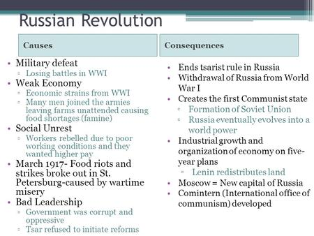 Russian Revolution CausesConsequences Military defeat ▫Losing battles in WWI Weak Economy ▫Economic strains from WWI ▫Many men joined the armies leaving.