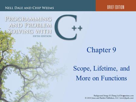 1 Chapter 9 Scope, Lifetime, and More on Functions.