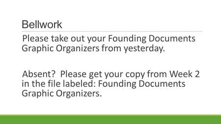 Bellwork Please take out your Founding Documents Graphic Organizers from yesterday. Absent? Please get your copy from Week 2 in the file labeled: Founding.