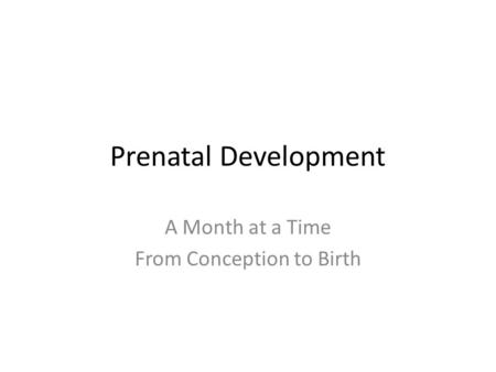 Prenatal Development A Month at a Time From Conception to Birth.