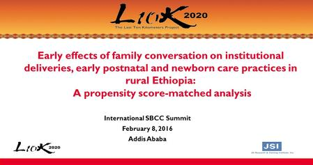 Early effects of family conversation on institutional deliveries, early postnatal and newborn care practices in rural Ethiopia: A propensity score-matched.