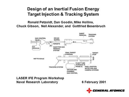 Design of an Inertial Fusion Energy Target Injection & Tracking System Ronald Petzoldt, Dan Goodin, Mike Hollins, Chuck Gibson, Neil Alexander, and Gottfried.