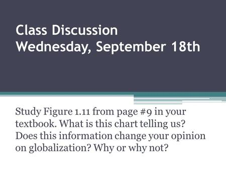 Class Discussion Wednesday, September 18th Study Figure 1.11 from page #9 in your textbook. What is this chart telling us? Does this information change.