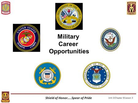 Shield of Honor…..Spear of Pride Unit 3/Chapter 9/Lesson 3 Military Career Opportunities.