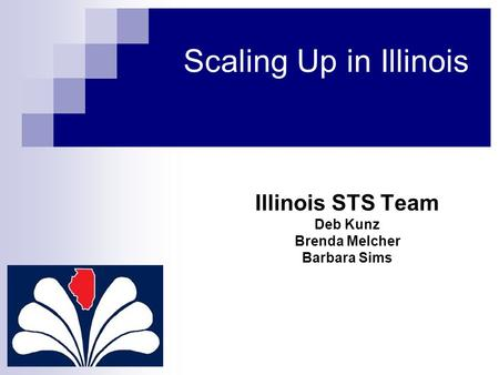 Scaling Up in Illinois Illinois STS Team Deb Kunz Brenda Melcher Barbara Sims.