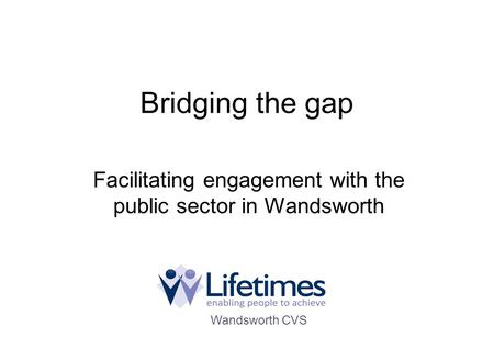 Bridging the gap Facilitating engagement with the public sector in Wandsworth Wandsworth CVS.