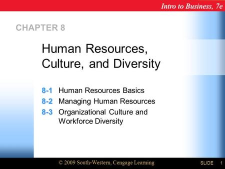 Intro to Business, 7e © 2009 South-Western, Cengage Learning SLIDE1 CHAPTER 8 8-1 8-1Human Resources Basics 8-2 8-2Managing Human Resources 8-3 8-3Organizational.