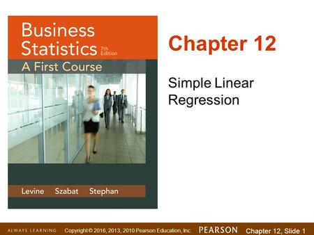 Chapter 12 Simple Linear Regression.
