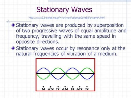 Stationary Waves Stationary waves are produced by superposition of two progressive waves of equal amplitude and frequency, travelling with the same speed.
