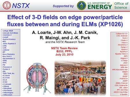 Effect of 3-D fields on edge power/particle fluxes between and during ELMs (XP1026) A. Loarte, J-W. Ahn, J. M. Canik, R. Maingi, and J.-K. Park and the.