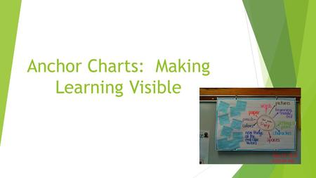Anchor Charts: Making Learning Visible. Purpose: When creating anchor charts it is a good idea to keep the purpose in mind. The point of an anchor chart.