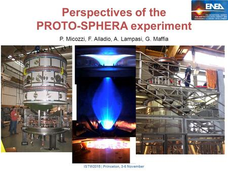 Perspectives of the PROTO-SPHERA experiment P. Micozzi, F. Alladio, A. Lampasi, G. Maffia ISTW2015 | Princeton, 3-6 November.