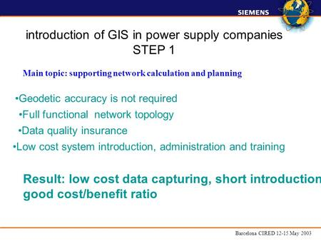 Barcelona CIRED 12-15 May 2003 Data quality insurance Geodetic accuracy is not required Main topic: supporting network calculation and planning Full functional.