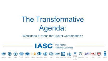 The Transformative Agenda: What does it mean for Cluster Coordination?