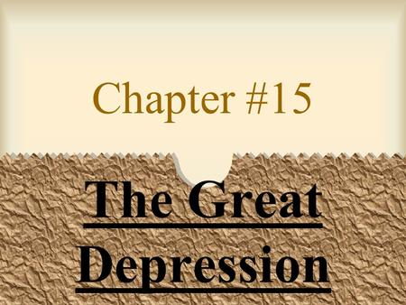 Chapter #15 The Great Depression. Causes American industry over- expanded production. Too much supply=low demand ($) for products.