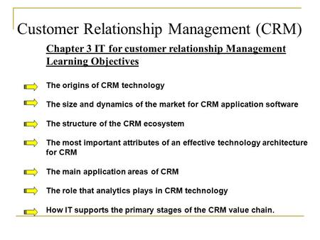 Customer Relationship Management (CRM) Chapter 3 IT for customer relationship Management Learning Objectives The origins of CRM technology The size and.