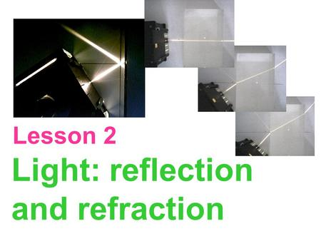 Light: reflection and refraction Lesson 2. Law of reflection Angle of reflection Angle of incidence The angle of incidence = the angle of reflection.
