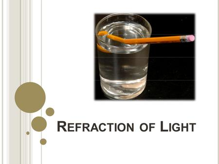 R EFRACTION OF L IGHT. W HAT IS R EFRACTION Although light travels in straight lines, it bends when it passes from one medium to another Refraction: the.