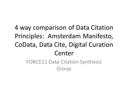 4 way comparison of Data Citation Principles: Amsterdam Manifesto, CoData, Data Cite, Digital Curation Center FORCE11 Data Citation Synthesis Group.