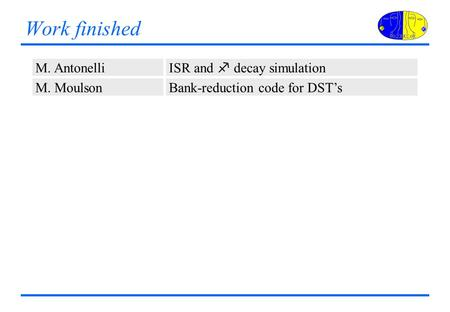 Work finished M. Antonelli ISR and f decay simulation M. MoulsonBank-reduction code for DST's.