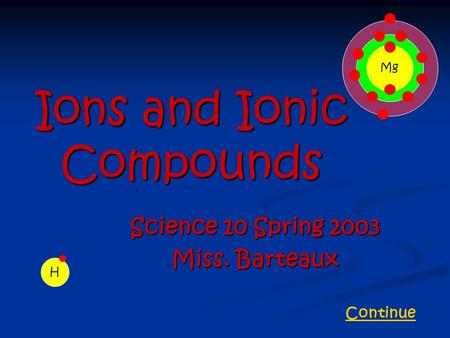 Ions and Ionic Compounds Science 10 Spring 2003 Miss. Barteaux H Mg Continue.