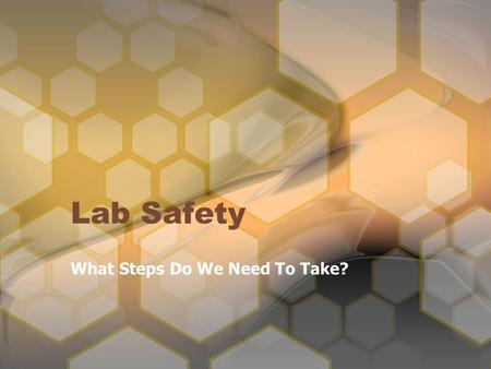 Lab Safety What Steps Do We Need To Take?. Why Do We Need Lab Safety? SAFETY Chemical Animal Sharp Hand Glassware Electrical Thermal Eye.