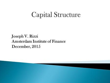 Joseph V. Rizzi Amsterdam Institute of Finance December, 2015.
