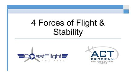 4 Forces of Flight & Stability. Forces Acting on an Aircraft © 2015 Coast Flight Training. All Rights Reserved. Thrust Drag Lift Weight (or Load)
