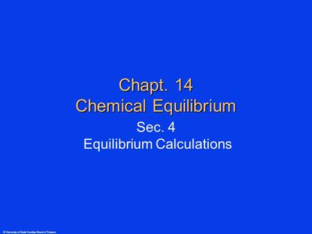 © University of South Carolina Board of Trustees Chapt. 14 Chemical Equilibrium Sec. 4 Equilibrium Calculations.