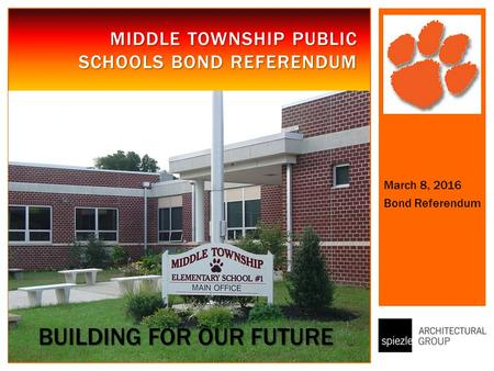 MIDDLE TOWNSHIP PUBLIC SCHOOLS BOND REFERENDUM March 8, 2016 Bond Referendum BUILDING FOR OUR FUTURE.